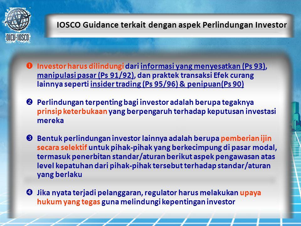 IOSCO Guidance terkait dengan aspek Perlindungan Investor