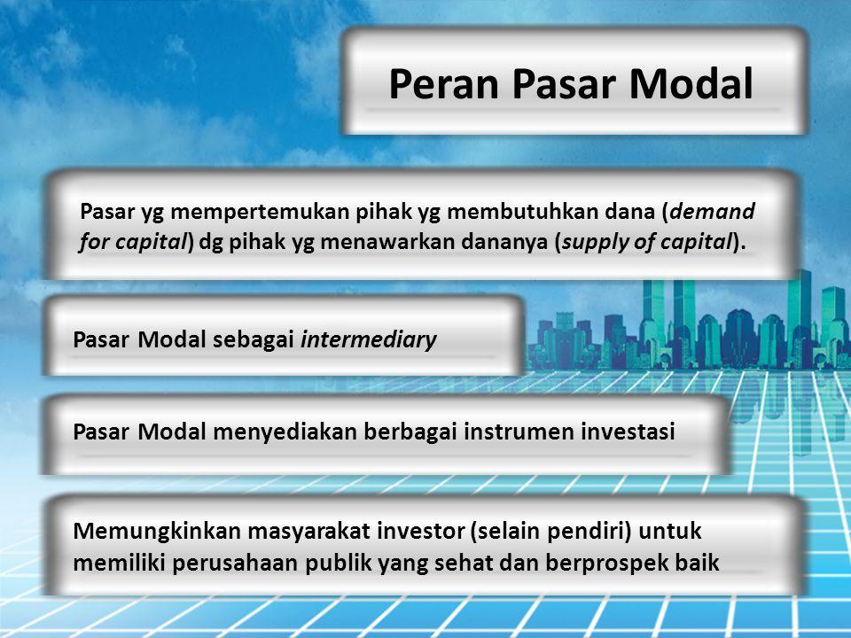 Peran Pasar Modal Pasar Modal sebagai intermediary