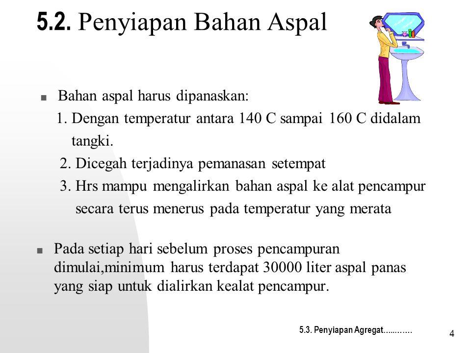 5.2. Penyiapan Bahan Aspal Bahan aspal harus dipanaskan: