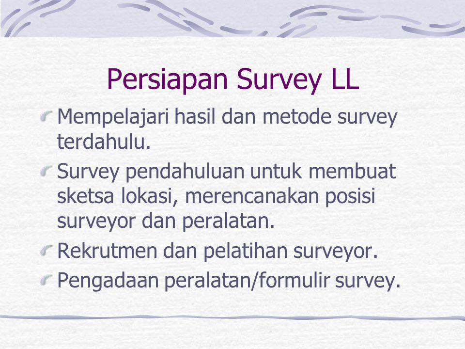 Persiapan Survey LL Mempelajari hasil dan metode survey terdahulu.