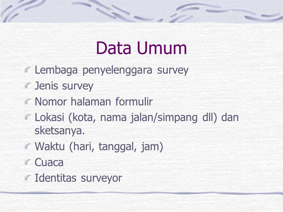 Data Umum Lembaga penyelenggara survey Jenis survey