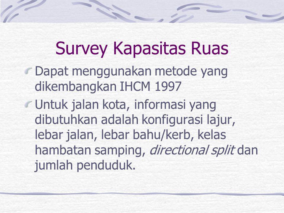 Survey Kapasitas Ruas Dapat menggunakan metode yang dikembangkan IHCM 1997.