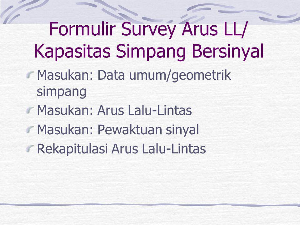 Formulir Survey Arus LL/ Kapasitas Simpang Bersinyal