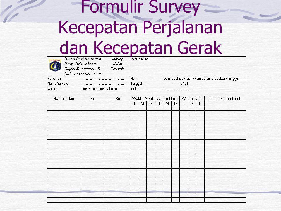 Formulir Survey Kecepatan Perjalanan dan Kecepatan Gerak