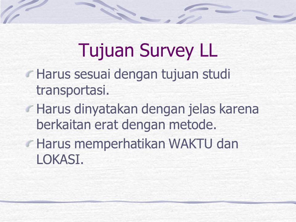 Tujuan Survey LL Harus sesuai dengan tujuan studi transportasi.