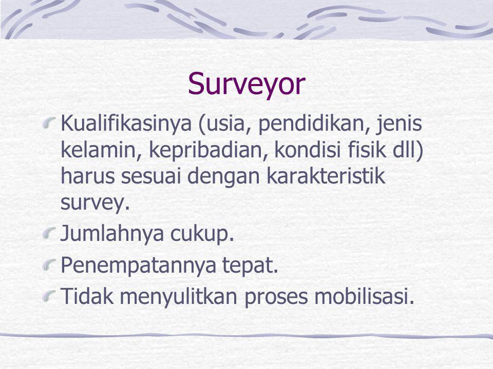 Surveyor Kualifikasinya (usia, pendidikan, jenis kelamin, kepribadian, kondisi fisik dll) harus sesuai dengan karakteristik survey.