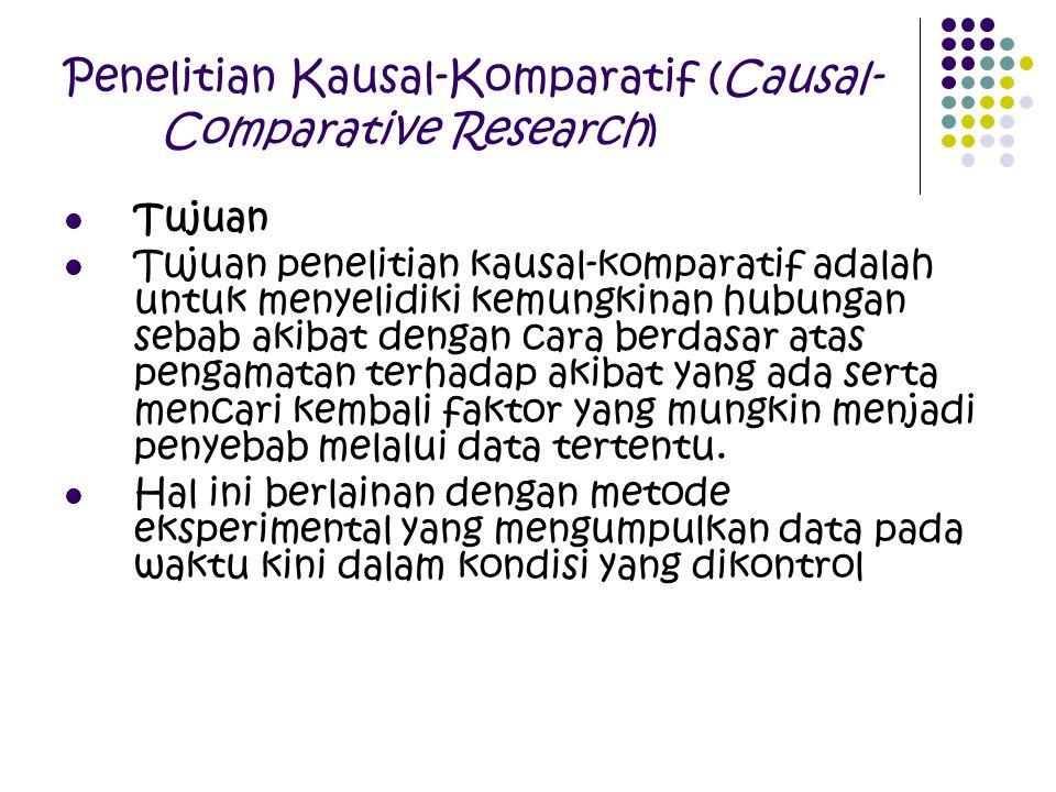 Penelitian Kausal-Komparatif (Causal-Comparative Research)