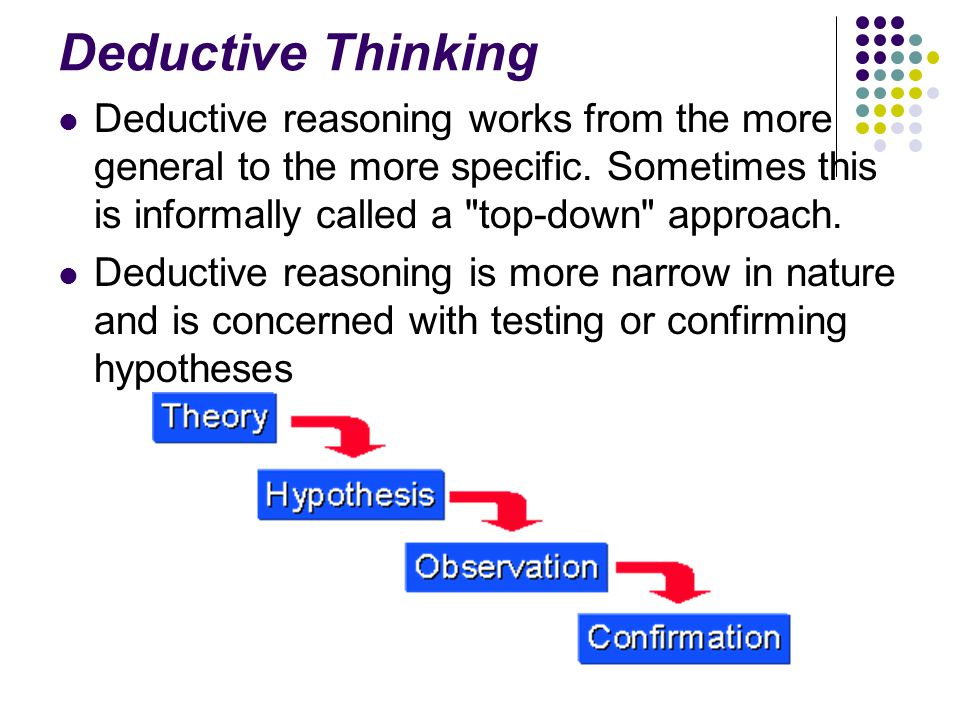 Deductive Thinking Deductive reasoning works from the more general to the more specific. Sometimes this is informally called a top-down approach.