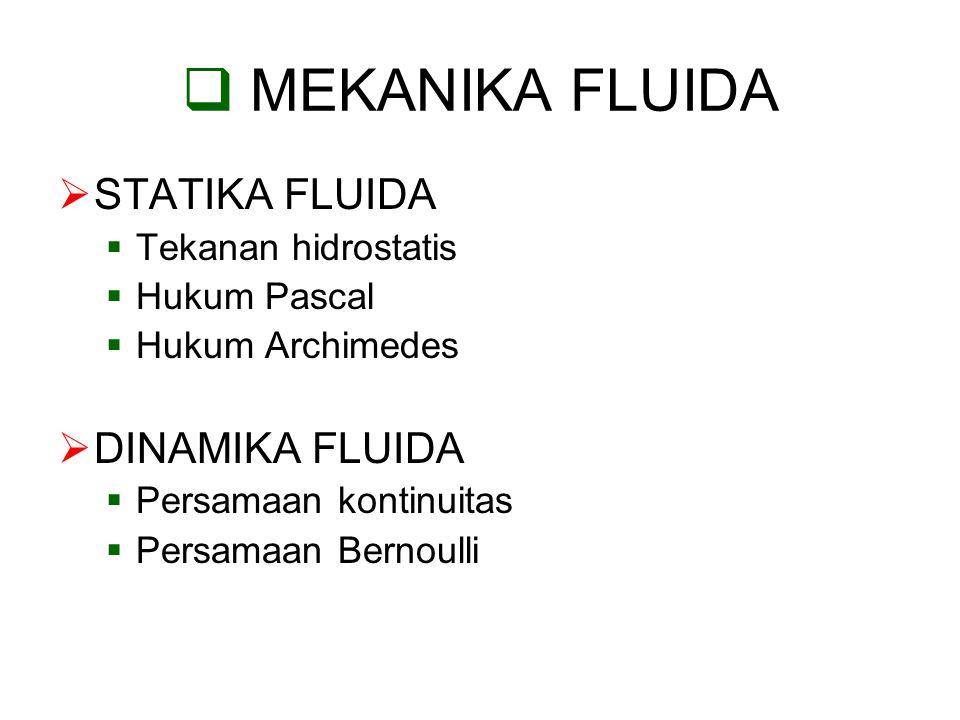 MEKANIKA FLUIDA STATIKA FLUIDA DINAMIKA FLUIDA Tekanan hidrostatis