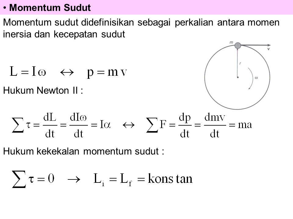 Momentum Sudut Momentum sudut didefinisikan sebagai perkalian antara momen inersia dan kecepatan sudut.
