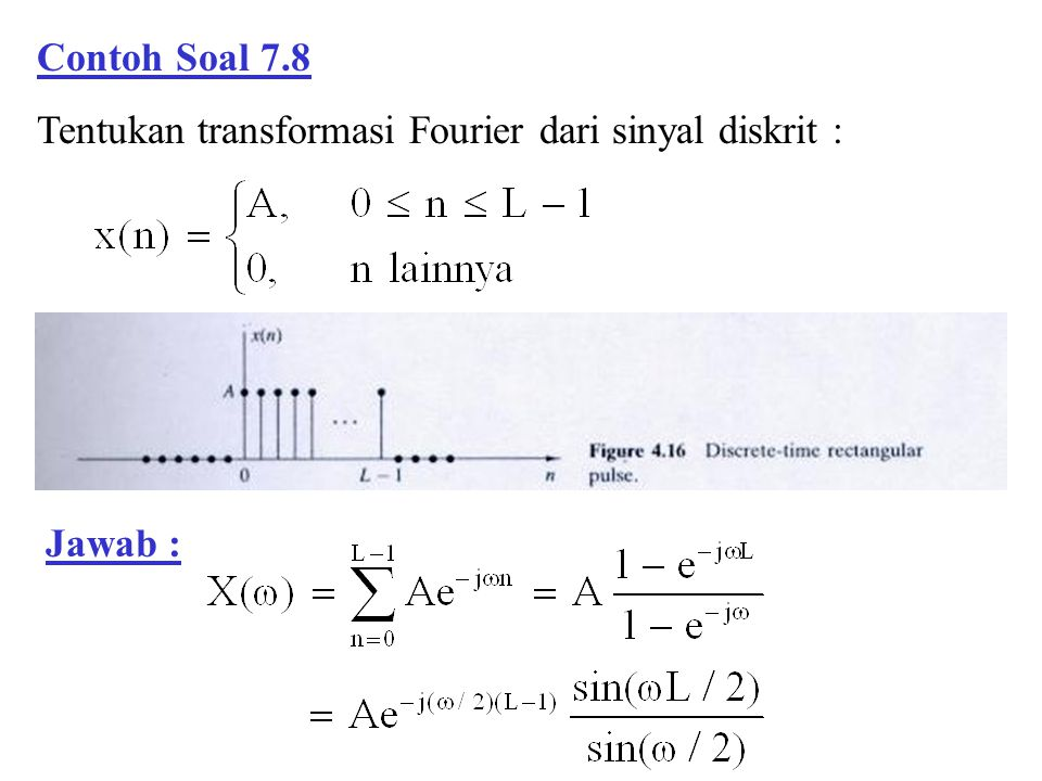 Contoh Soal 7.8 Tentukan transformasi Fourier dari sinyal diskrit : Jawab :