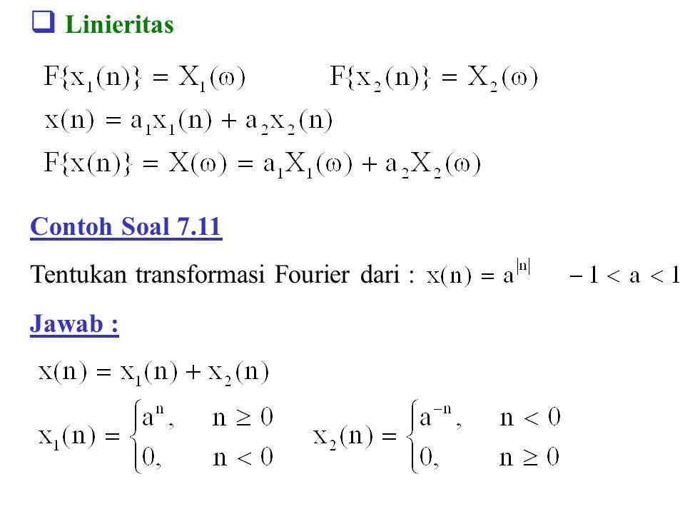 Linieritas Contoh Soal 7.11 Tentukan transformasi Fourier dari :