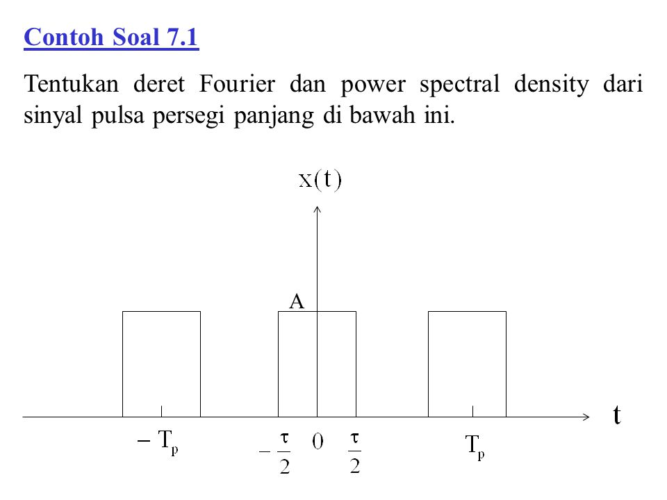 Contoh Soal 7.1 Tentukan deret Fourier dan power spectral density dari sinyal pulsa persegi panjang di bawah ini.