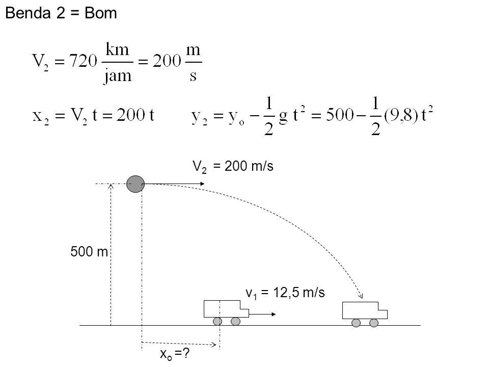 Benda 2 = Bom V2 = 200 m/s 500 m v1 = 12,5 m/s xo =