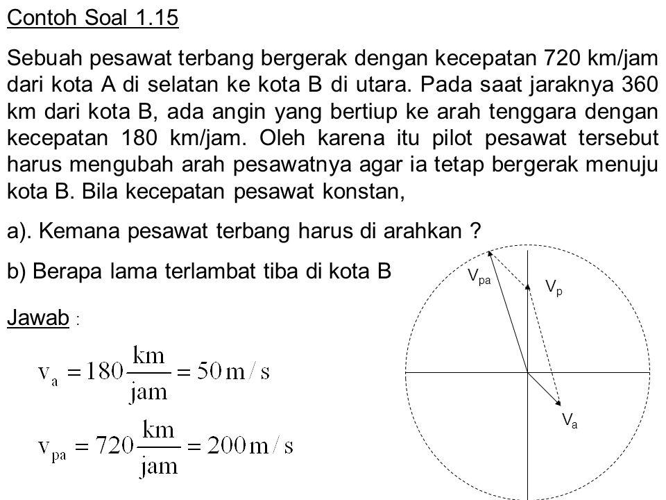 a). Kemana pesawat terbang harus di arahkan