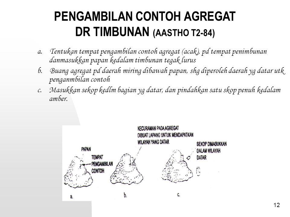 PENGAMBILAN CONTOH AGREGAT DR TIMBUNAN (AASTHO T2-84)