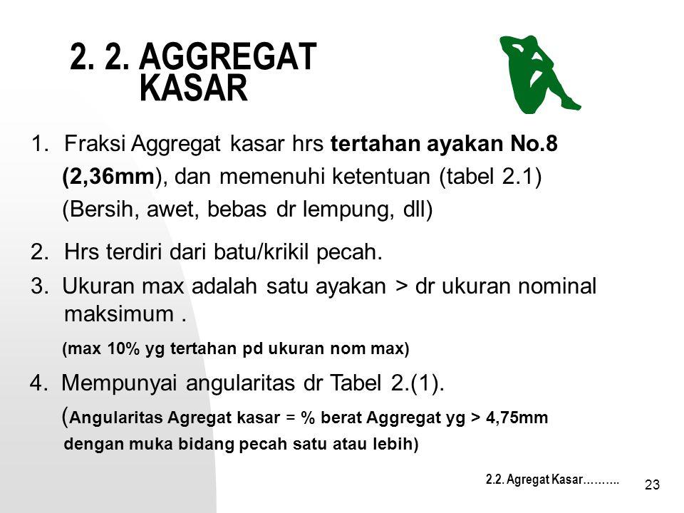 2. 2. AGGREGAT KASAR 1. Fraksi Aggregat kasar hrs tertahan ayakan No.8