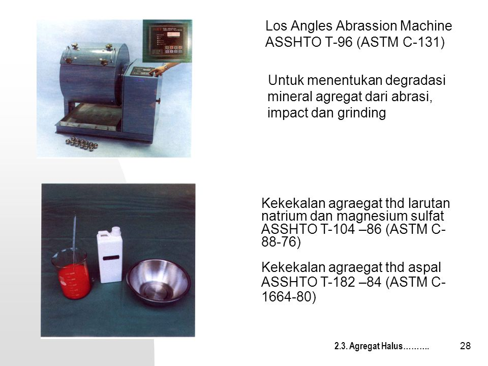 Los Angles Abrassion Machine ASSHTO T-96 (ASTM C-131)