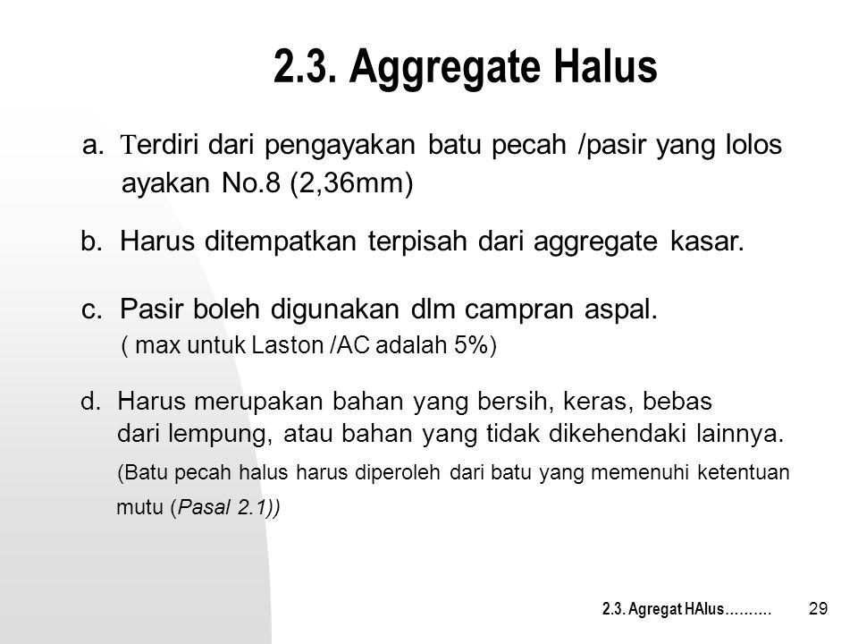 2.3. Aggregate Halus a. Terdiri dari pengayakan batu pecah /pasir yang lolos. ayakan No.8 (2,36mm)