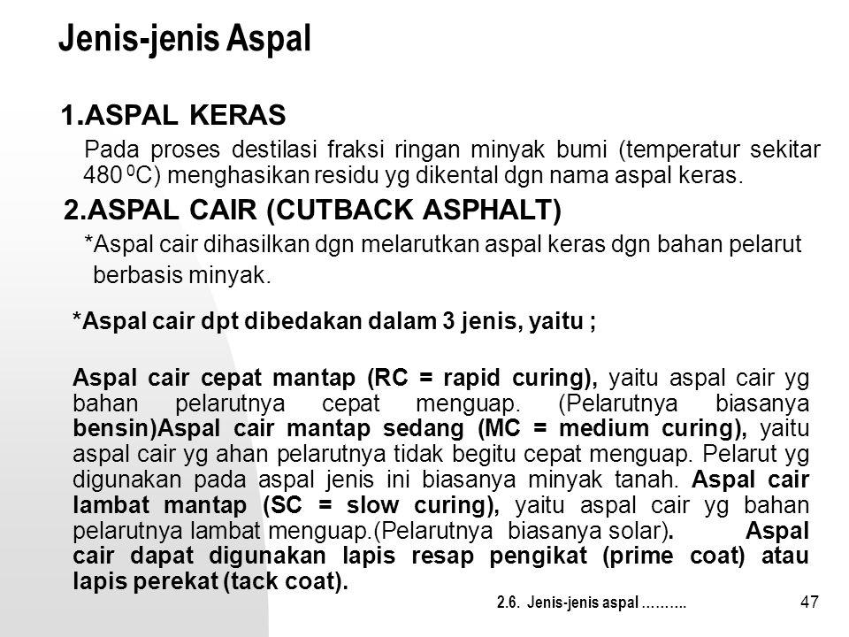 Jenis-jenis Aspal 1.ASPAL KERAS 2.ASPAL CAIR (CUTBACK ASPHALT)