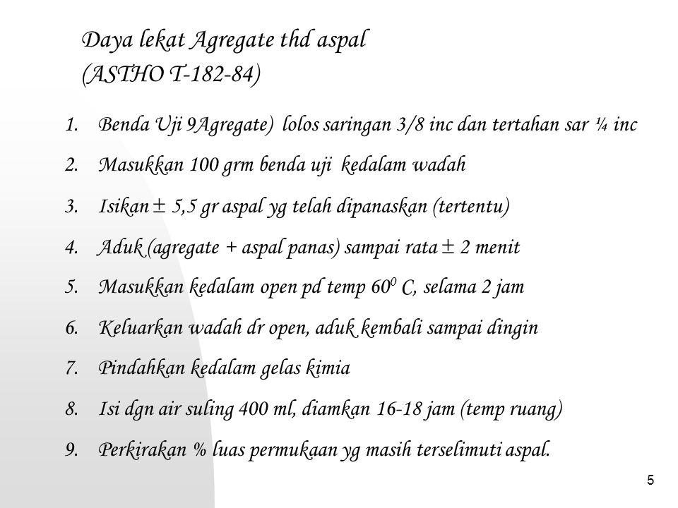 Daya lekat Agregate thd aspal (ASTHO T-182-84)
