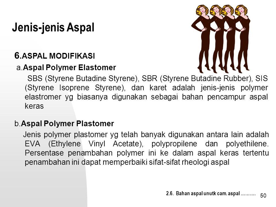 Jenis-jenis Aspal 6.ASPAL MODIFIKASI a.Aspal Polymer Elastomer