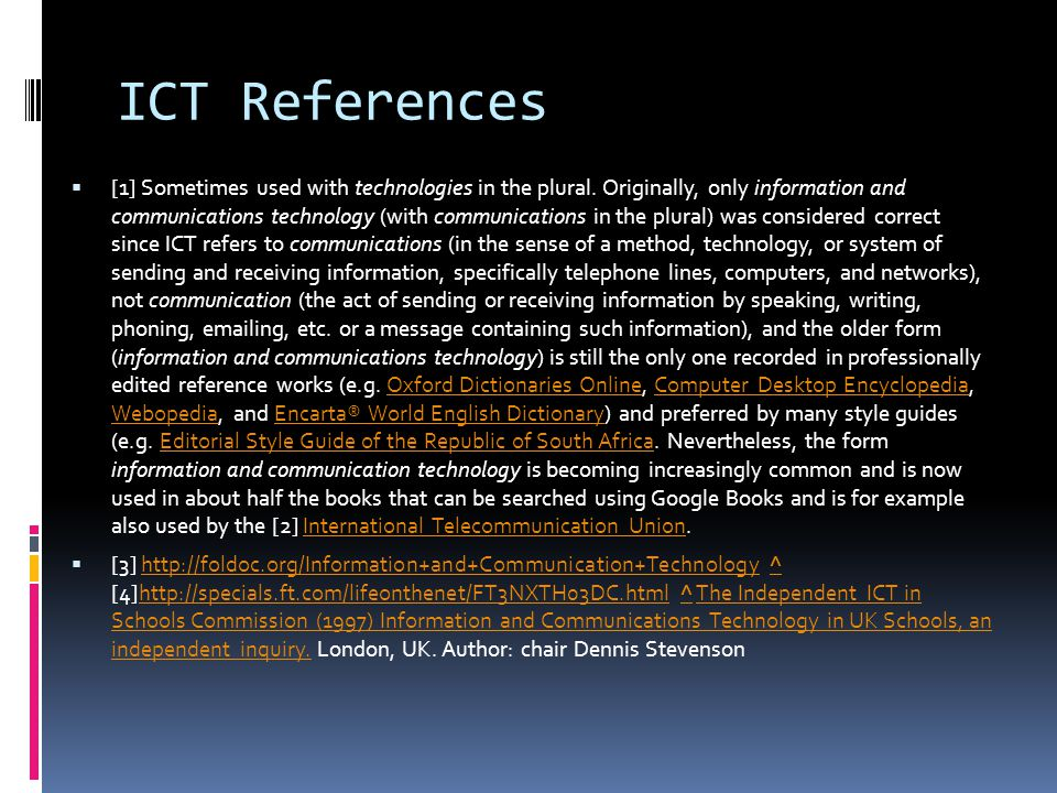 ICT References