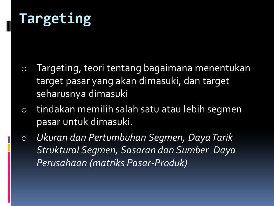 Targeting Targeting, teori tentang bagaimana menentukan target pasar yang akan dimasuki, dan target seharusnya dimasuki.