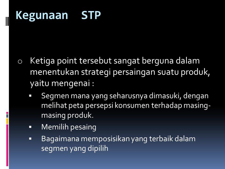 Kegunaan STP Ketiga point tersebut sangat berguna dalam menentukan strategi persaingan suatu produk, yaitu mengenai :