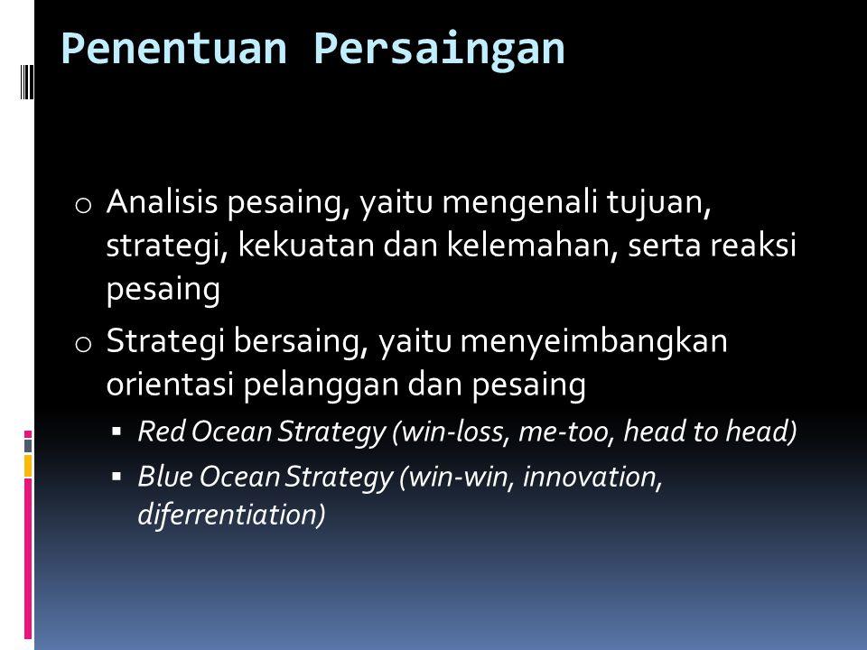 Penentuan Persaingan Analisis pesaing, yaitu mengenali tujuan, strategi, kekuatan dan kelemahan, serta reaksi pesaing.