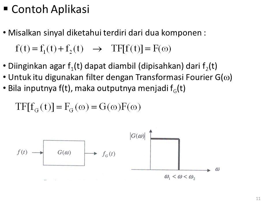 Contoh Aplikasi Misalkan sinyal diketahui terdiri dari dua komponen :