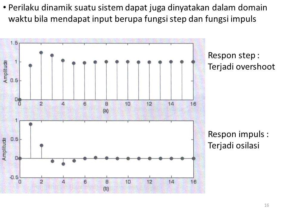 Perilaku dinamik suatu sistem dapat juga dinyatakan dalam domain waktu bila mendapat input berupa fungsi step dan fungsi impuls