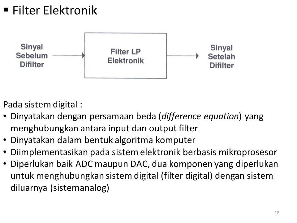 Filter Elektronik Pada sistem digital :