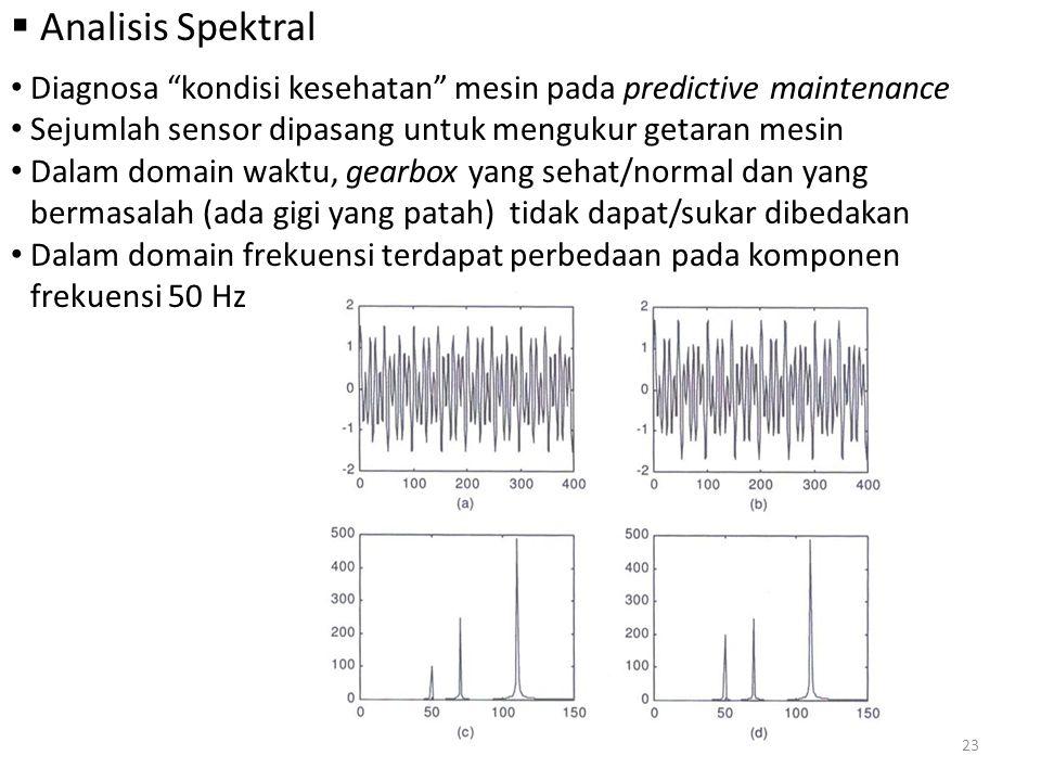 Analisis Spektral Diagnosa kondisi kesehatan mesin pada predictive maintenance. Sejumlah sensor dipasang untuk mengukur getaran mesin.