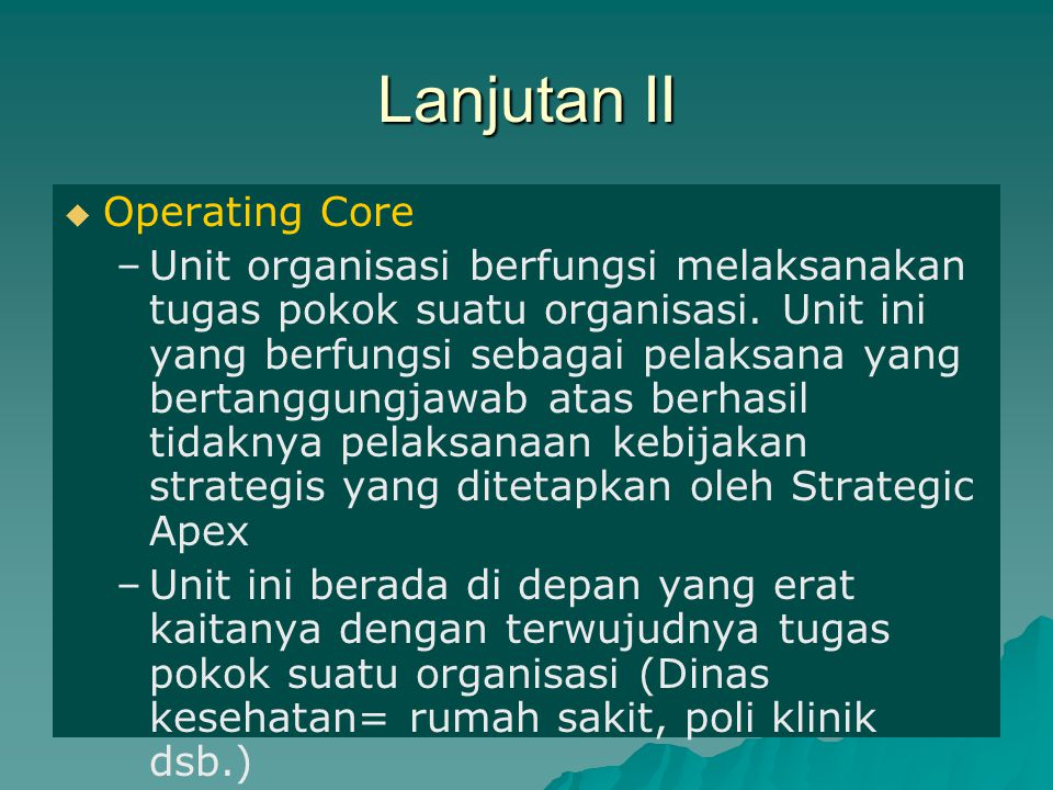 Lanjutan II Operating Core