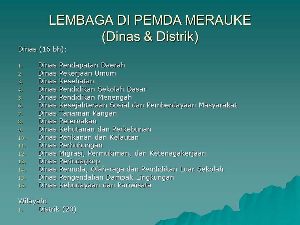 LEMBAGA DI PEMDA MERAUKE (Dinas & Distrik)