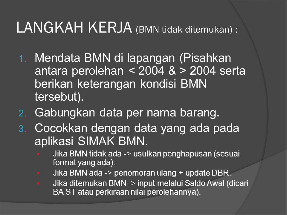 LANGKAH KERJA (BMN tidak ditemukan) :