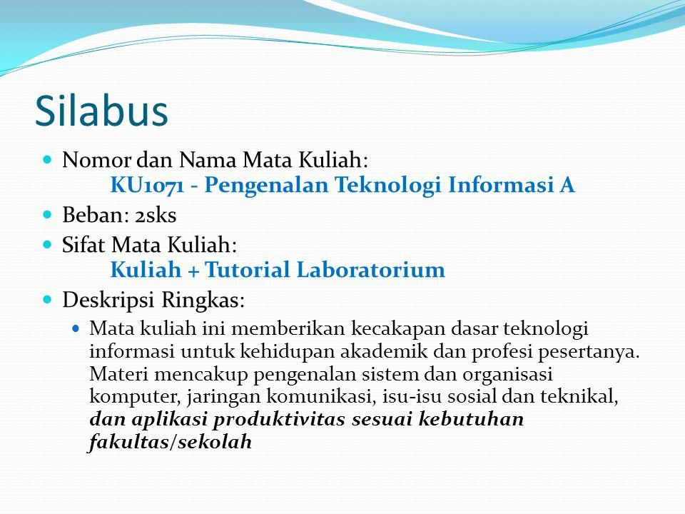 Silabus Nomor dan Nama Mata Kuliah: KU1071 - Pengenalan Teknologi Informasi A. Beban: 2sks. Sifat Mata Kuliah: Kuliah + Tutorial Laboratorium.
