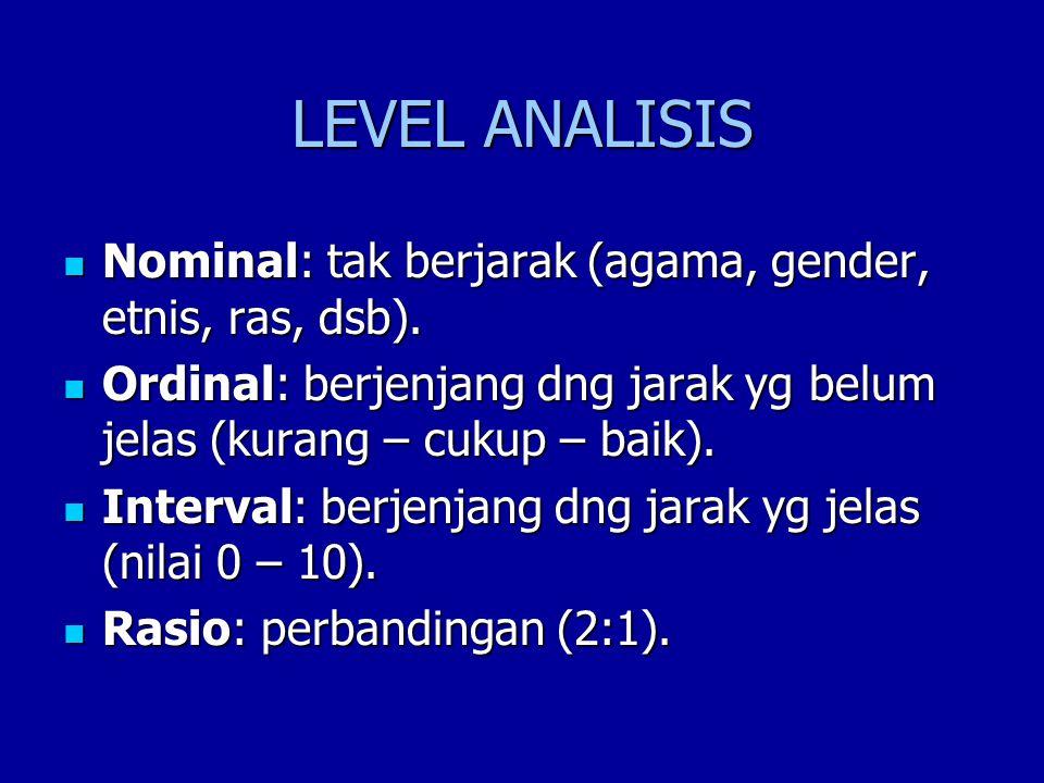 LEVEL ANALISIS Nominal: tak berjarak (agama, gender, etnis, ras, dsb).