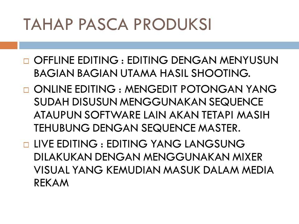 TAHAP PASCA PRODUKSI OFFLINE EDITING : EDITING DENGAN MENYUSUN BAGIAN BAGIAN UTAMA HASIL SHOOTING.