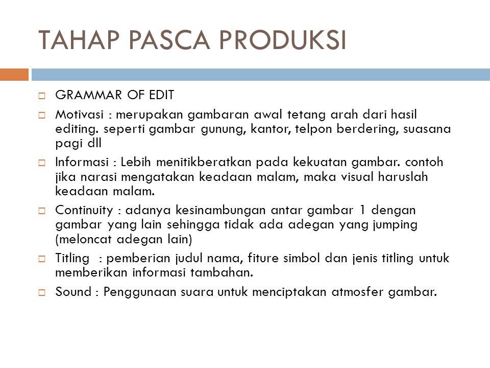 TAHAP PASCA PRODUKSI GRAMMAR OF EDIT