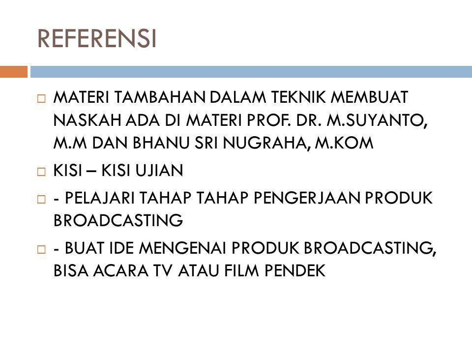 REFERENSI MATERI TAMBAHAN DALAM TEKNIK MEMBUAT NASKAH ADA DI MATERI PROF. DR. M.SUYANTO, M.M DAN BHANU SRI NUGRAHA, M.KOM.