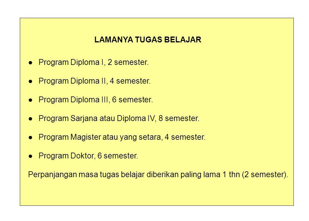 LAMANYA TUGAS BELAJAR ● Program Diploma I, 2 semester. ● Program Diploma II, 4 semester. ● Program Diploma III, 6 semester.