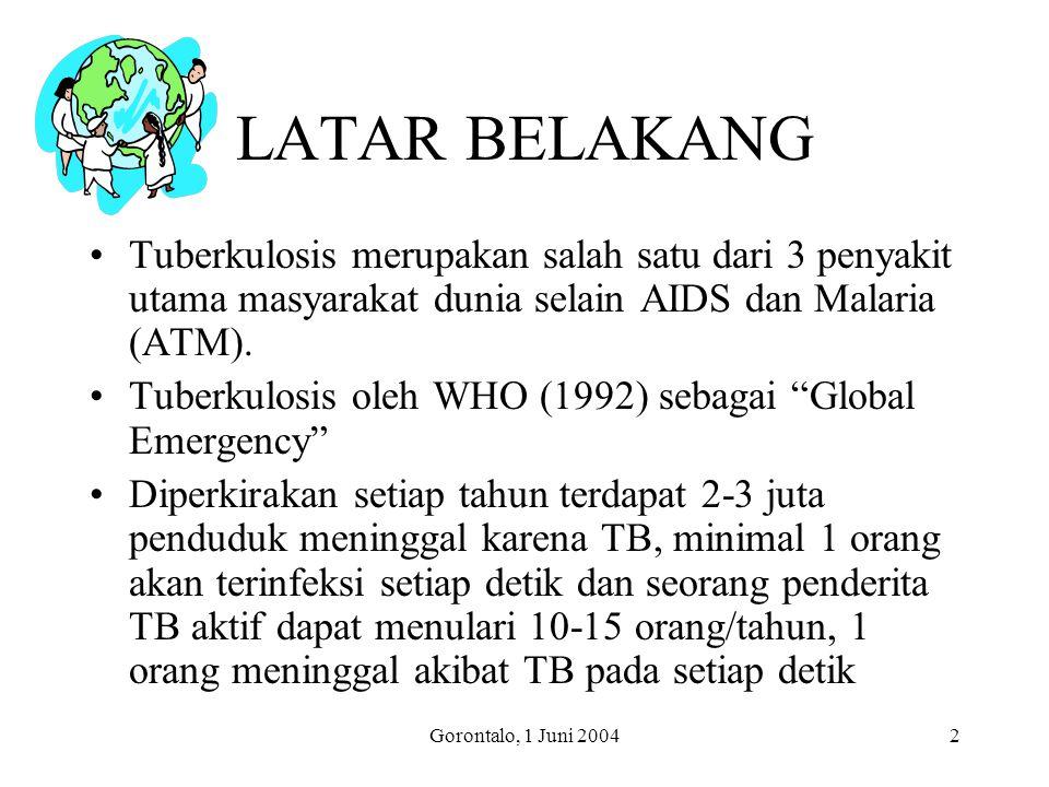 LATAR BELAKANG Tuberkulosis merupakan salah satu dari 3 penyakit utama masyarakat dunia selain AIDS dan Malaria (ATM).