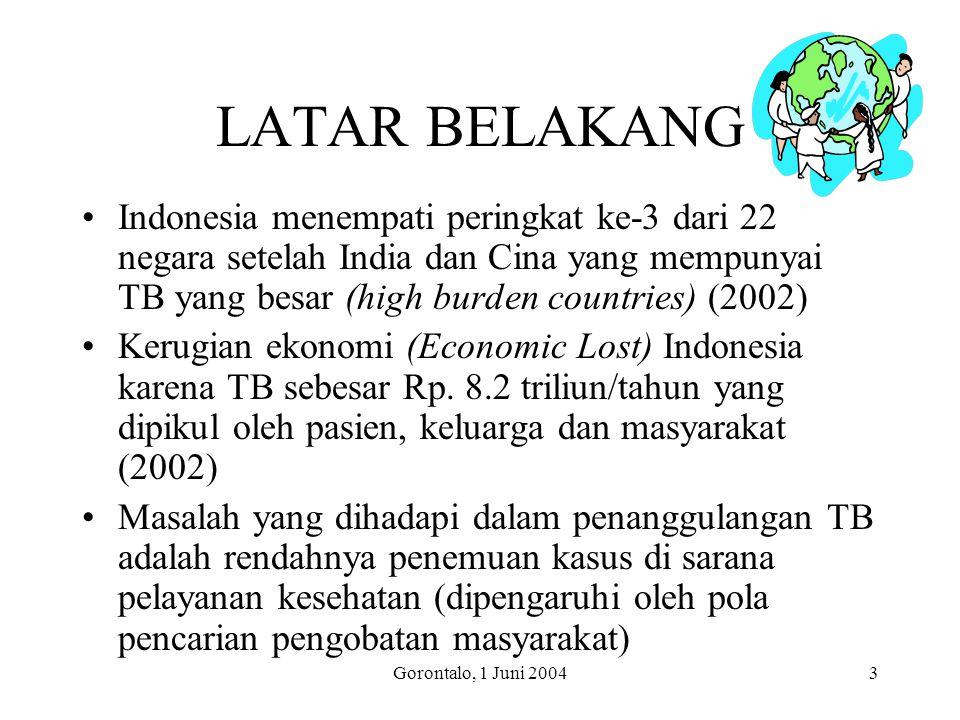 LATAR BELAKANG Indonesia menempati peringkat ke-3 dari 22 negara setelah India dan Cina yang mempunyai TB yang besar (high burden countries) (2002)