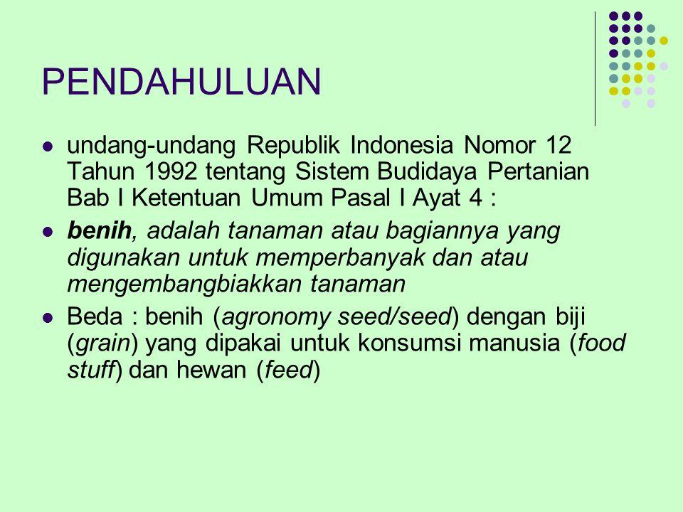 PENDAHULUAN undang-undang Republik Indonesia Nomor 12 Tahun 1992 tentang Sistem Budidaya Pertanian Bab I Ketentuan Umum Pasal I Ayat 4 :