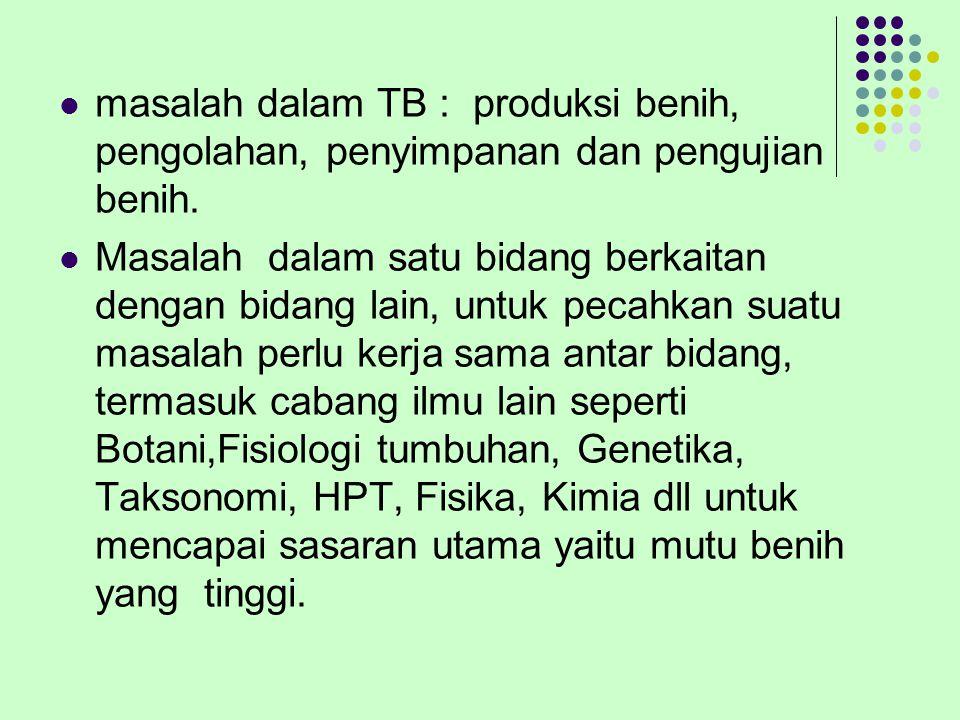 masalah dalam TB : produksi benih, pengolahan, penyimpanan dan pengujian benih.