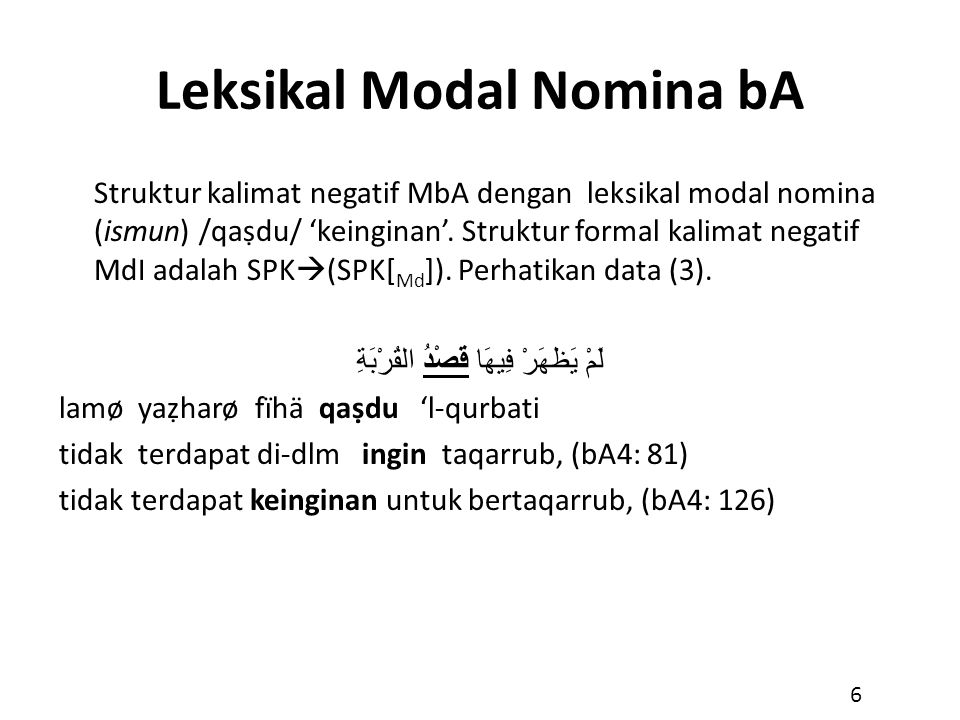 Leksikal Modal Nomina bA