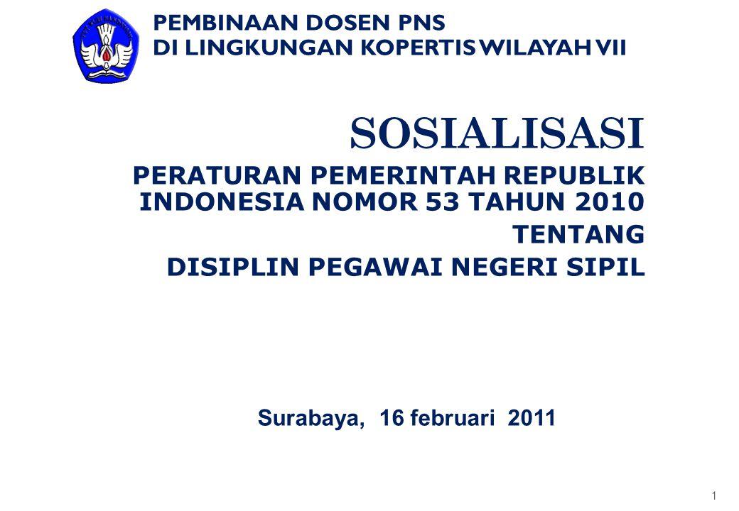 PEMBINAAN DOSEN PNS DI LINGKUNGAN KOPERTIS WILAYAH VII. SOSIALISASI. PERATURAN PEMERINTAH REPUBLIK INDONESIA NOMOR 53 TAHUN 2010.