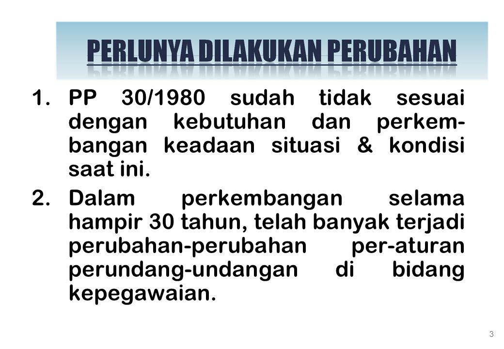 PP 30/1980 sudah tidak sesuai dengan kebutuhan dan perkem-bangan keadaan situasi & kondisi saat ini.